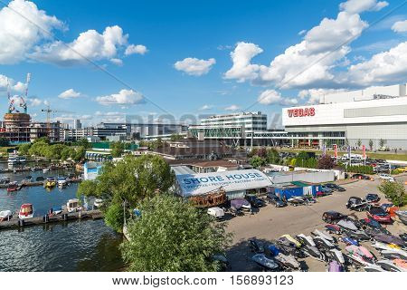 Moscow, Russia - July 09.2016. Pleasure boats at the pier of the yacht club Shore House