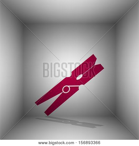Clothes Peg Sign. Bordo Icon With Shadow In The Room.