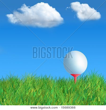 Illustration of a gold ball and tee in the grass
