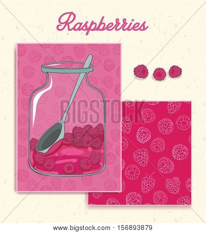 Greeting card. Raspberry Branding Design. Raspberry design set cards. Banner. Pattern complete. Invitation. Raspberry seamless pattern under mask