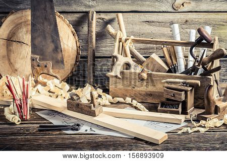 Antique Carpentry Workshop With Tools On Old Wooden Table