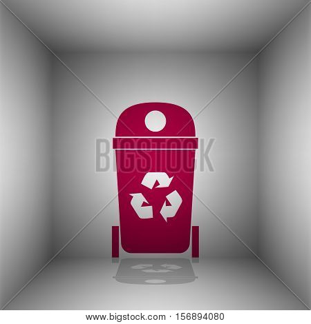 Trashcan Sign Illustration. Bordo Icon With Shadow In The Room.