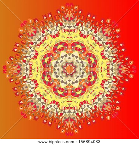 Flower mandala. Vector illustration of colorful shawl. Ornamental bandana or silk neck scarf. Kerchief square pattern design style for print on fabric. Lovely tablecloth.