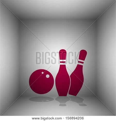 Bowling Sign Illustration. Bordo Icon With Shadow In The Room.