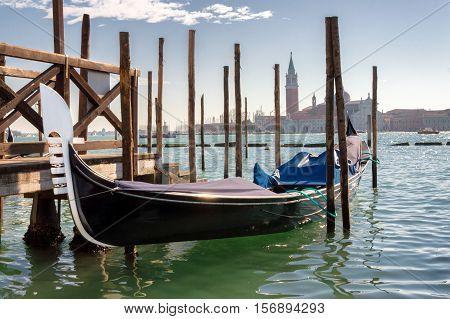 Gondola in Venice, with San Giorgio Maggiore on the background