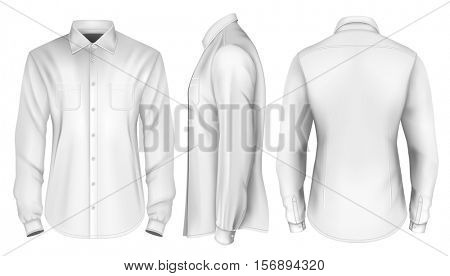 Men's long sleeved shirt. Front, side and back views. Fully editable handmade mesh, Vector illustration.