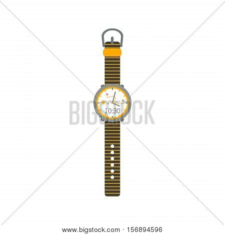 Sport and fashion wrist watch with bracelet. Isolated timer clock. Accessory symbol. Dial with hands map day time. Vector illustration.