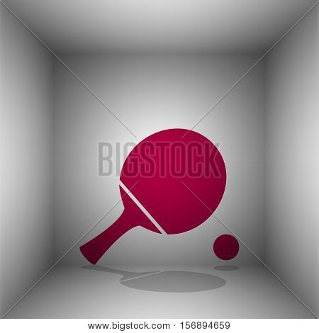 Ping Pong Paddle With Ball. Bordo Icon With Shadow In The Room.