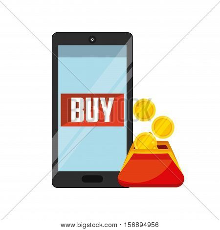 purse with gold coins and smartphone device with buy word on screen over white background. tax design. vector illustration