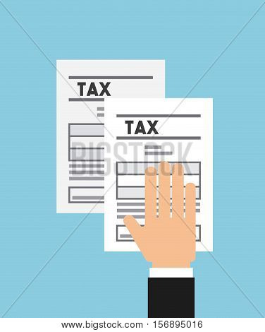 human hand with tax documents over blue background. tax design. vector illustration