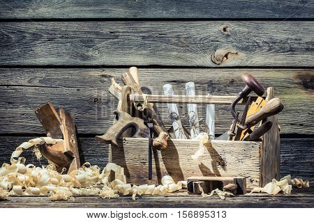 Saw, Hammer And Planer In The Carpentry Workshop