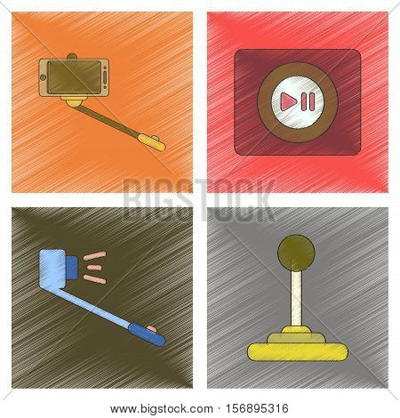 assembly flat shading style illustration of Smartphone selfie stick game joystick music player
