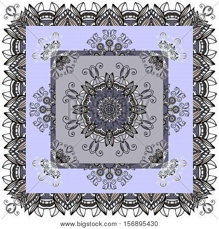 Beautiful bandaba print in grey and blue tones with flower mandalas. Vector illustration. . Decorative ornamental silk neck scarf design.