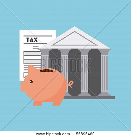 bank icon and tax documents with piggy box over blue background. tax time design. vector illustration
