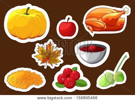 Set of stickers for Happy Thanksgiving Day. Thanksgiving Day badge, icon, template. Apple, cranberry, pumpkin pie or apple pie, leaf, turkey, acorn. Thanksgiving dinner symbol template