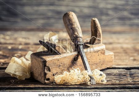 Chisel And Planer In A Carpentry Workshop
