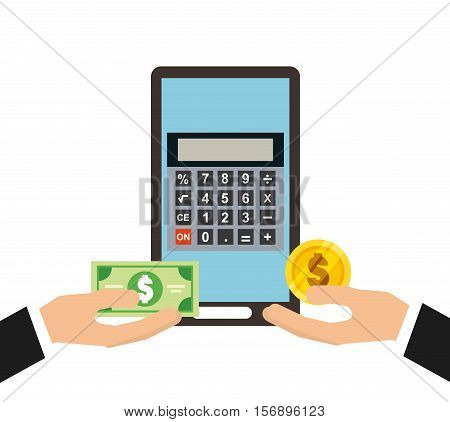 calculator device and human hands holding a money bills and coins over white background. tax design. vector illustration