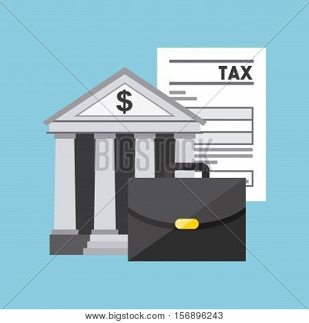 briefcase and bank icon with tax documents over blue background. tax time design. vector illustration