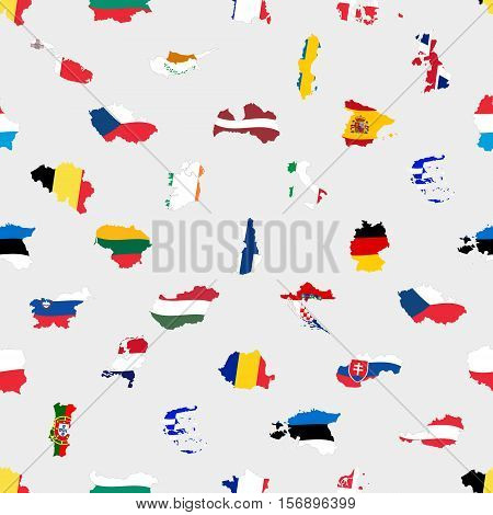 Simple Color Flags All European Union Countries Like Maps  Seamless Pattern Eps10