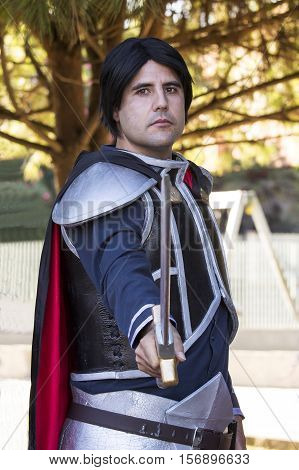 SELARGIUS, ITALY - October 19, 2014: The enchanted garden in Cosplay - 2nd edition - Sardinia - portrait of a man in the cosplay costume