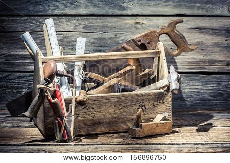 Saw, Hammer And Planer In The Carpentry Toolbox