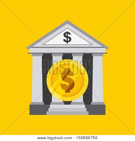 bank icon with gold money coin over yellow background. vector illustration