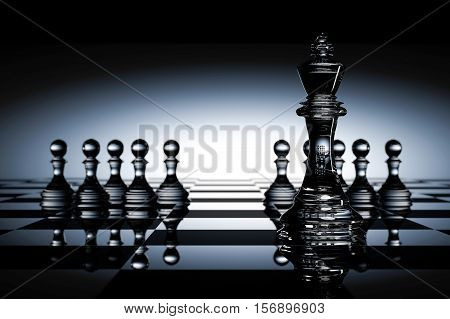 3D Rendering : Illustration Of Chess Pieces.the Glass King Chess At The Center With Pawn Chess In Th
