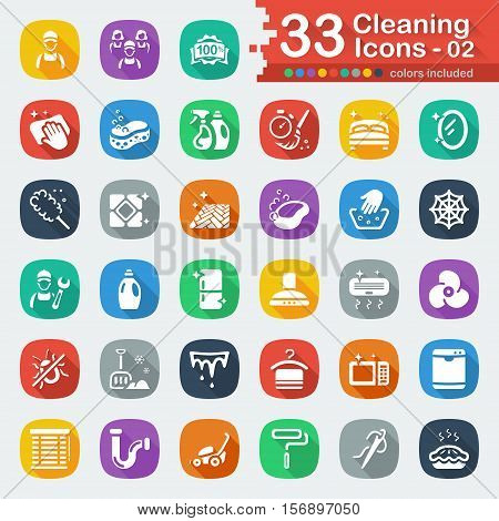 White flat cleaning services icons for web and mobile