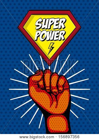 super power comic design and human hand over pop art colorful background. vector illustration