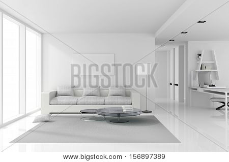 3D rendering : illustration of White interior design of living room with white modern style furniture. shiny white floor, empty picture frame hanging on a wall. clipping path included