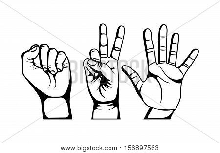 human hands with gesture expression over white background. vector illustration