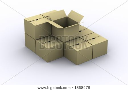 Opened Box Over Piled Cardboard Boxes