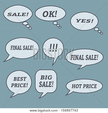 Sale speech bubbles. . Talk balloon. Set of vector illustration icons.