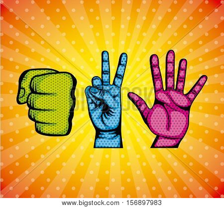 human hand over pop art colorful background. comic design. vector illustration