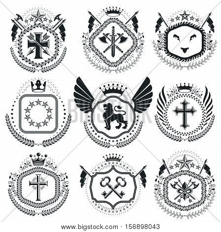 Vintage Award Designs, Vintage Heraldic Coat Of Arms. Vector Emblems. Vintage Design Elements Collec