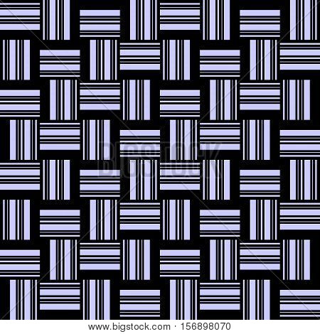 Abstract seamless pattern in blue and black black tones - 1. Interlocking strips. Vector illustration.