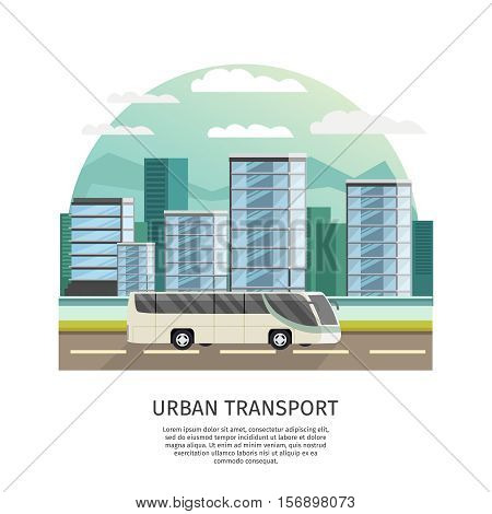 Urban transport orthogonal design with text and bus at road on city landscape background vector illustration