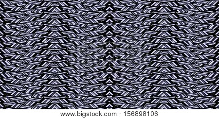 Abstract seamless pattern in blue and black black tones - 7. Interlocking strips. Vector illustration.