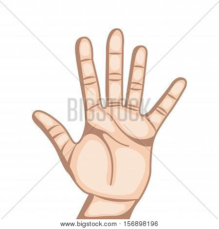human hand with number gesture  expression over white background. colorful design. vector illustration