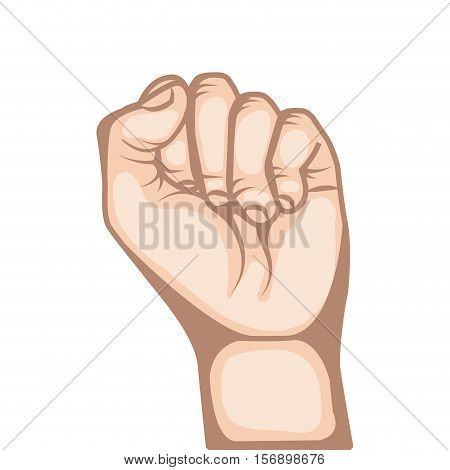human hand with  fist gesture  over white background. colorful design. vector illustration