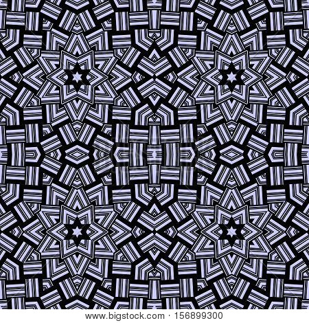 Abstract seamless pattern in blue and black black tones - 9. Interlocking strips. Vector illustration. Moroccan motif. Print for fabric. Optical illusion.
