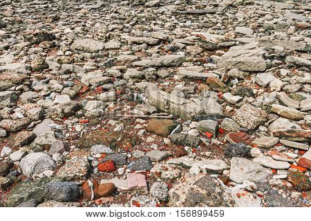 Heap of debris scattered on the floor