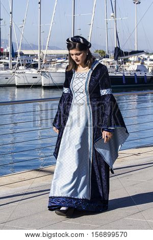 CAGLIARI ITALY - October 29 2016: Invitas waterfront Sardinia Port of performances and food traditions. - Association