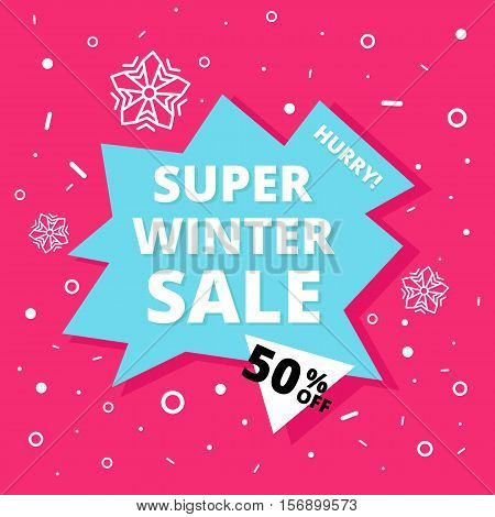 Super winter sale banner. Hurry One day deal, special offer, big sale, clearance. Editable Bright Stock Vector Illustration. Pink Blue White Black