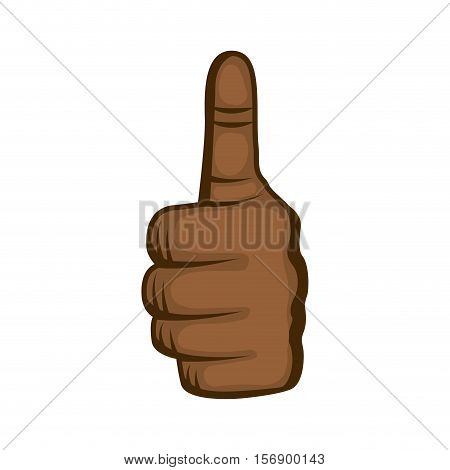 human hand with finger up good gesture  over white background. colorful design. vector illustration