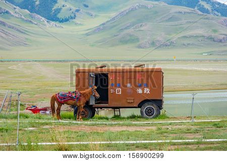 Horse And Caravan, Sayram Lake, China