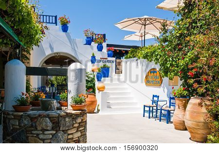 Kos Greece - May 20 2010 : A traditional tavern in the Zia village