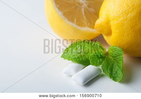 Chewing gums with lemon and mint. fresh breath