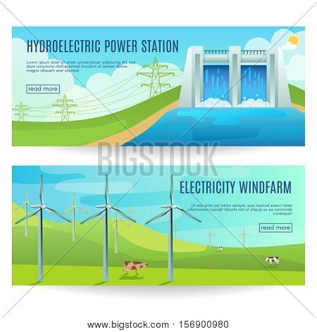 Two horizontal ecology banners with environmental friendly hydroelectric power station windfarm images and read more botton vector illustration