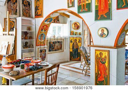 Kos Greece - May 21 2010 : The workshop of Mr.Katapodis icon painter